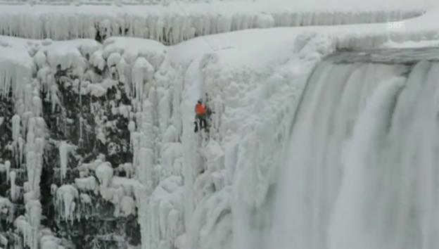 Video «Eisklettern an den Niagara-Fällen» abspielen