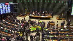 Video «Brasilien: Parlaments-Abstimmung über Amtsenthebungsverfahren» abspielen