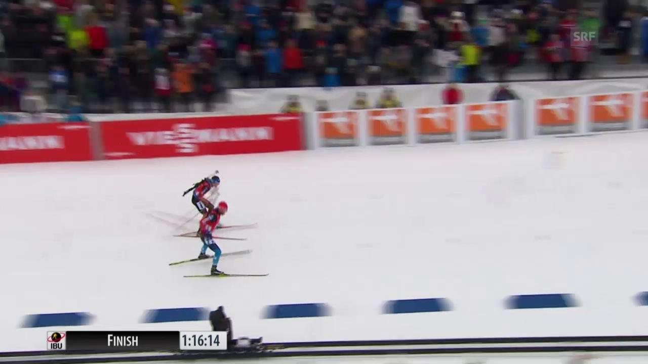 Biathlon: Staffel Männer in Oslo, die Schlussphase
