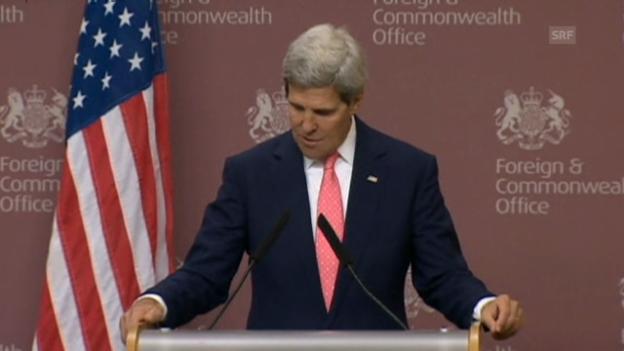 Video «US-Aussenminister Kerry auf die Journalistenfrage (engl.)» abspielen