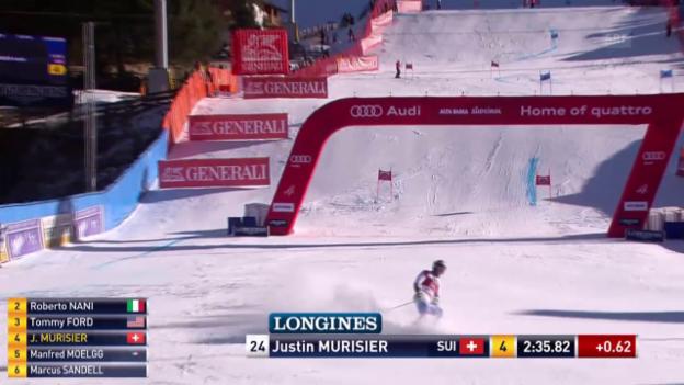 Video «Ski: Riesenslalom Alta Badia, Justin Murisier, 2. Lauf» abspielen