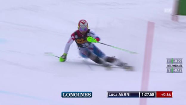 Video «Ski: Weltcup-Slalom in Kranjska Gora, Luca Aerni 2. Lauf» abspielen