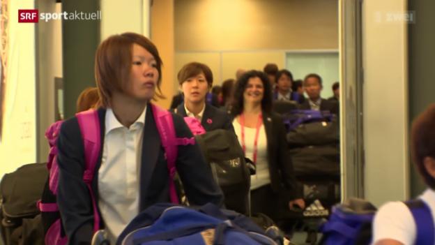 Video «Fussball: Japans Ankunft in Kanada» abspielen