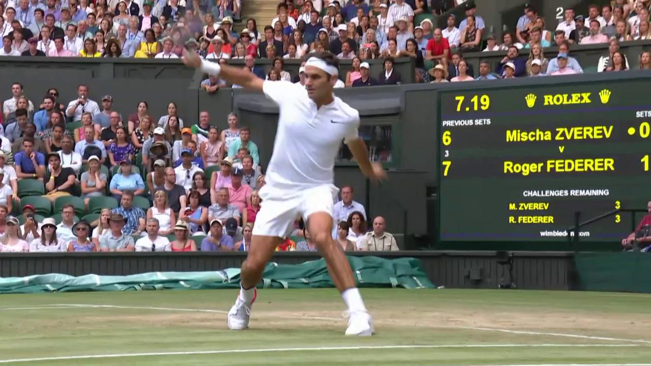 Federers Volley-Passierball von der Grundlinie