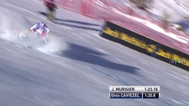 Video «Ski: Riesenslalom der Männer in Val d'Isère, der Ausfall von Gino Caviezel» abspielen
