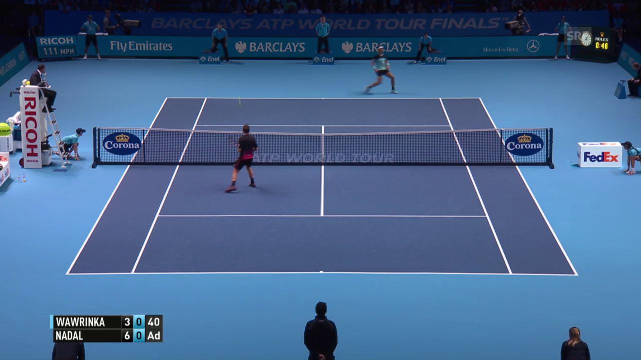 Tennis: ATP Finals, 1. Gruppenspiel, Wawrinka-Nadal, abgewehrte Breakchancen Wawrinka