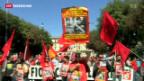 Video «Italien: Gewerkschaften rufen zur Demo» abspielen