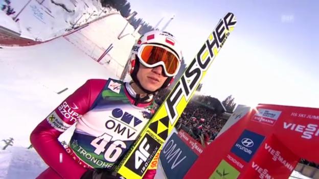 Video «Skispringen Trondheim: 2. Sprung von Kamil Stoch (unkommentiert)» abspielen
