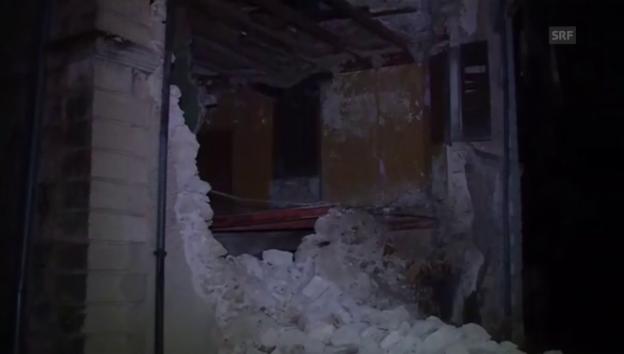 Video «Die Schäden nach dem Erdbeben (ital. Kommentar)» abspielen