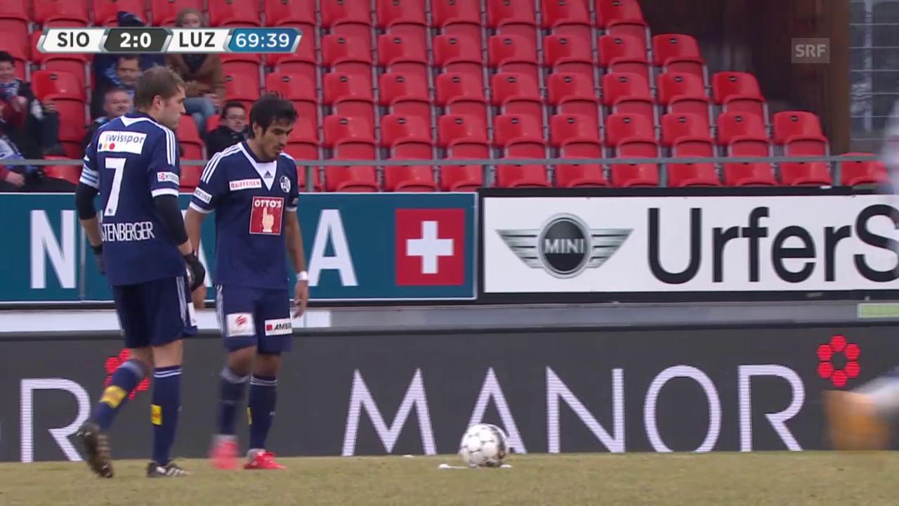 Fussball: SL, Sion - Luzern, Freistosstreffer Lezcano