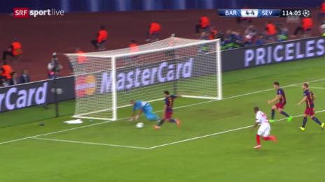 Video «Fussball: Supercup, Barcelona - Sevilla, 5:4 Rodriguez» abspielen