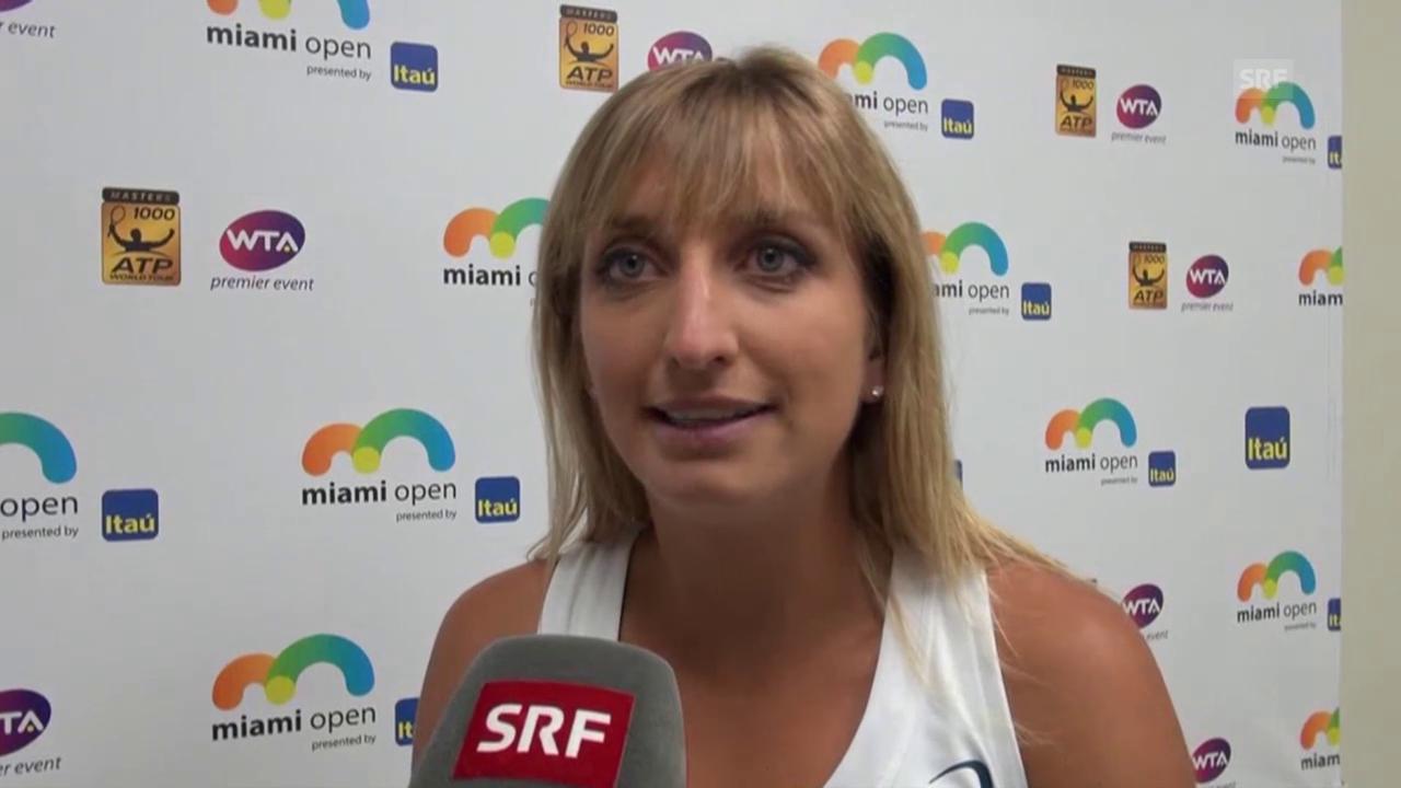 Timea Bacsinszky im Interview nach ihrem Sieg über Halep