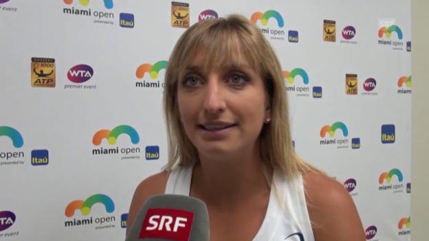 Video «Timea Bacsinszky im Interview nach ihrem Sieg über Halep» abspielen