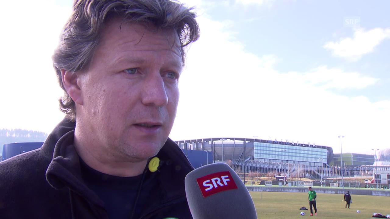 Fussball: Super League, St. Gallen-Trainer Jeff Saibene vor dem Spiel gegen Luzern (27.02.2014)