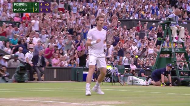 Video «Tennis: Wimbledon 2015, Viertelfinal Murray-Pospisil, der Matchball» abspielen