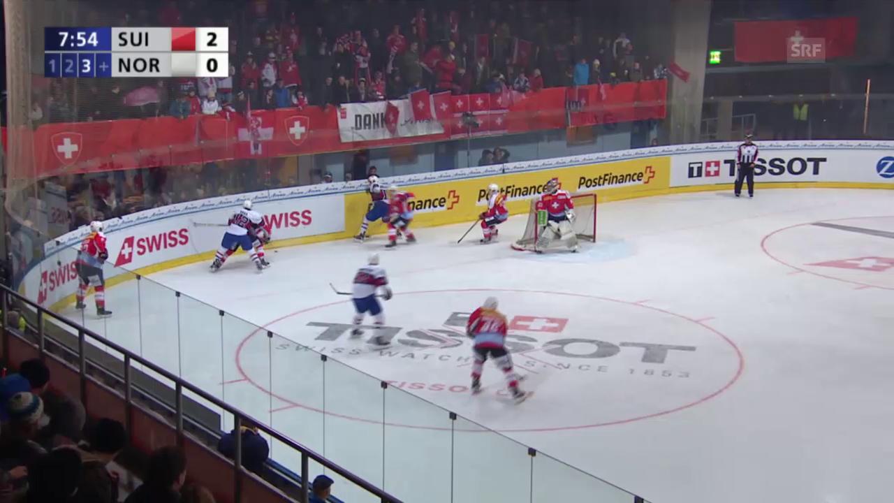 Eishockey: Arosa Challenge, Schweiz - Norwegen, Tor zum 1:2 für Norwegen