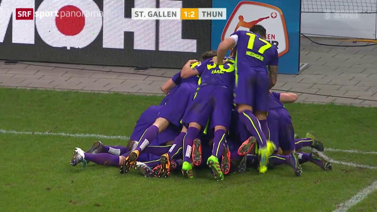Thun feiert in St. Gallen Last-Minute-Sieg