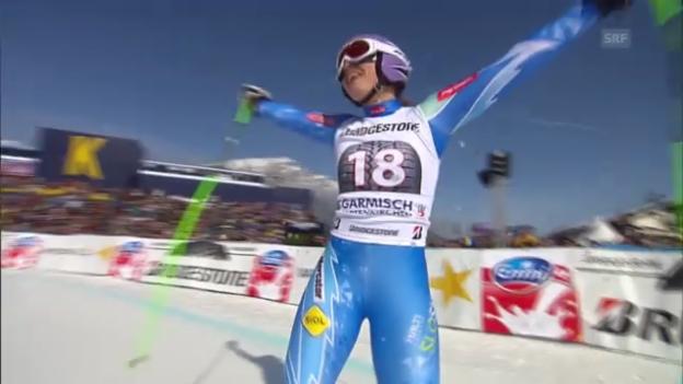 Video «Ski: Abfahrt Frauen in Garmisch-Partenkirchen» abspielen