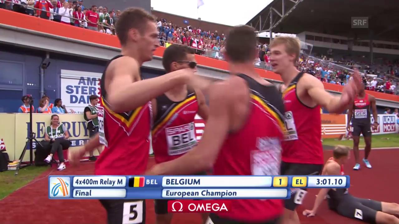4x400 m: Borlée-Brüder führen Belgien zum Sieg