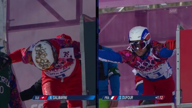 Video «Snowboard: Parallel-Slalom Männer, Achtelfinal, 2. Lauf von Nevin Galmarini (sotschi direkt, 22.2.2014)» abspielen