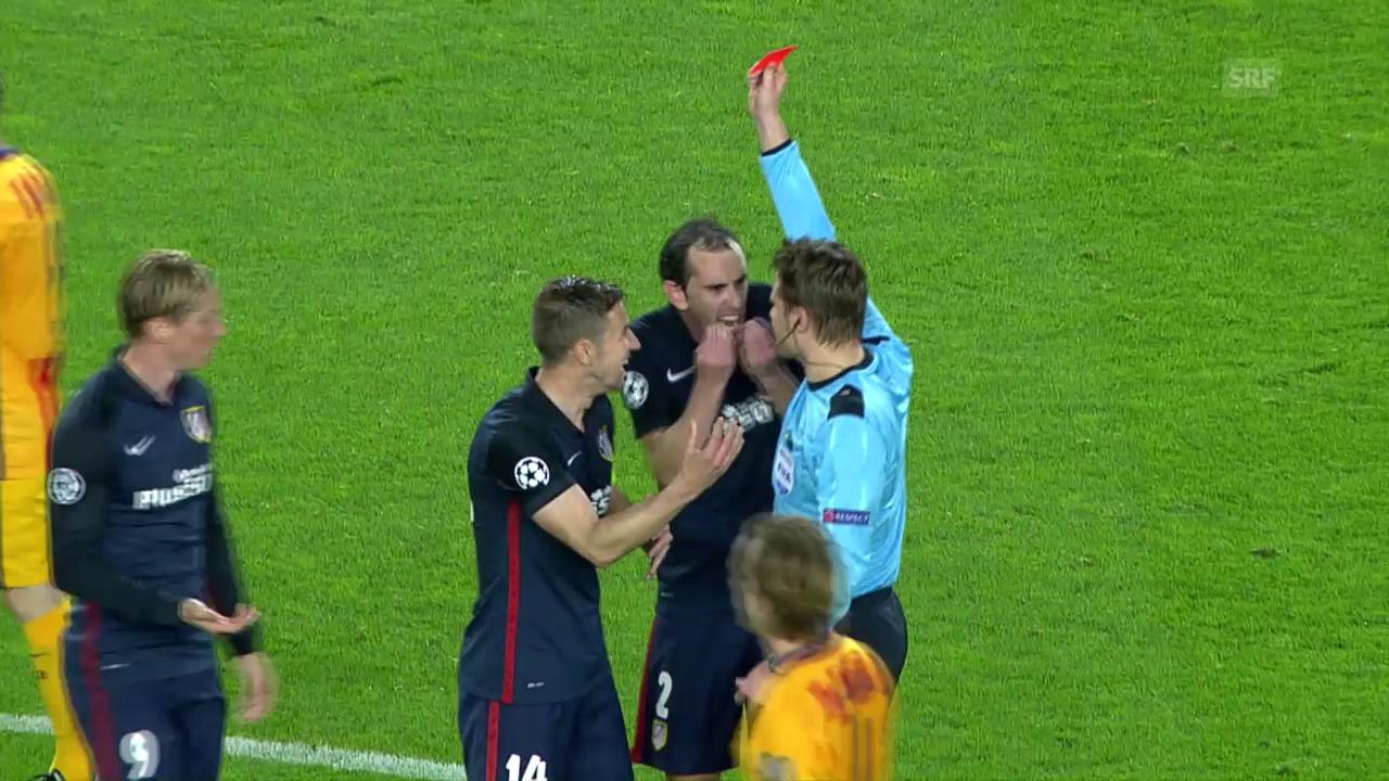 Fernando Torres sieht im CL-Viertelfinal gegen Barcelona die gelb-rote Karte