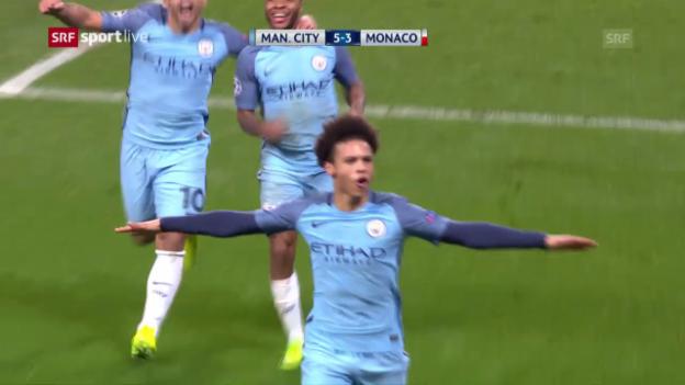 Video «Manchester City gewinnt Spektakelspiel gegen Monaco» abspielen