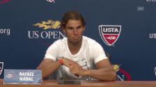 Video «Ein unglücklicher Nadal an der Medienkonferenz (englisch, Quelle: SNTV)» abspielen