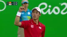 Video «Matchball - Nishikori schliesst mit einem Servicewinner ab» abspielen