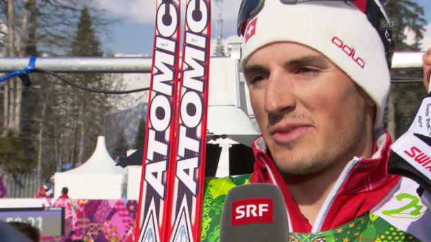 Video «Langlauf: 4x10km Staffel Männer, Interview mit Jonas Baumann (sotschi direkt, 16.2.2014)» abspielen