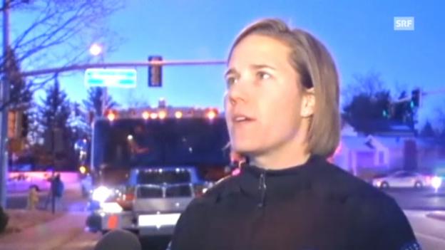 Video «Nach dem der Telefonkontakt abgebrochen war stürmte die Polizei das Haus, sagte eine Polizeisprecherin.» abspielen