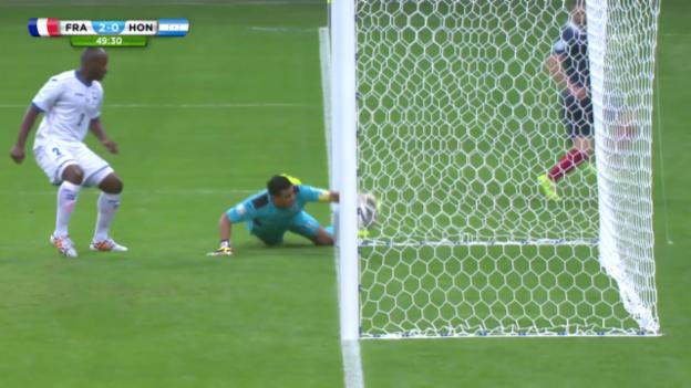 Video «Fussball: WM 2014, FRA-HON, Torlinientechnik beim 2:0» abspielen