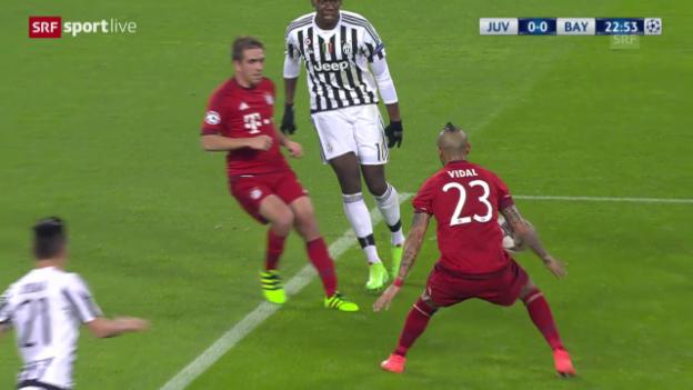 Video «Das Handspiel von Bayerns Vidal» abspielen