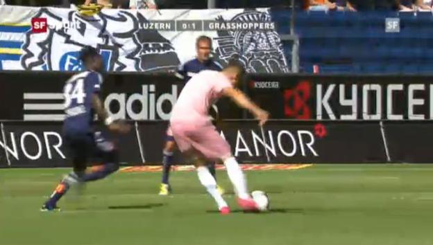 Video «Steven Zuber (Grasshoppers) gegen den FC Luzern.» abspielen