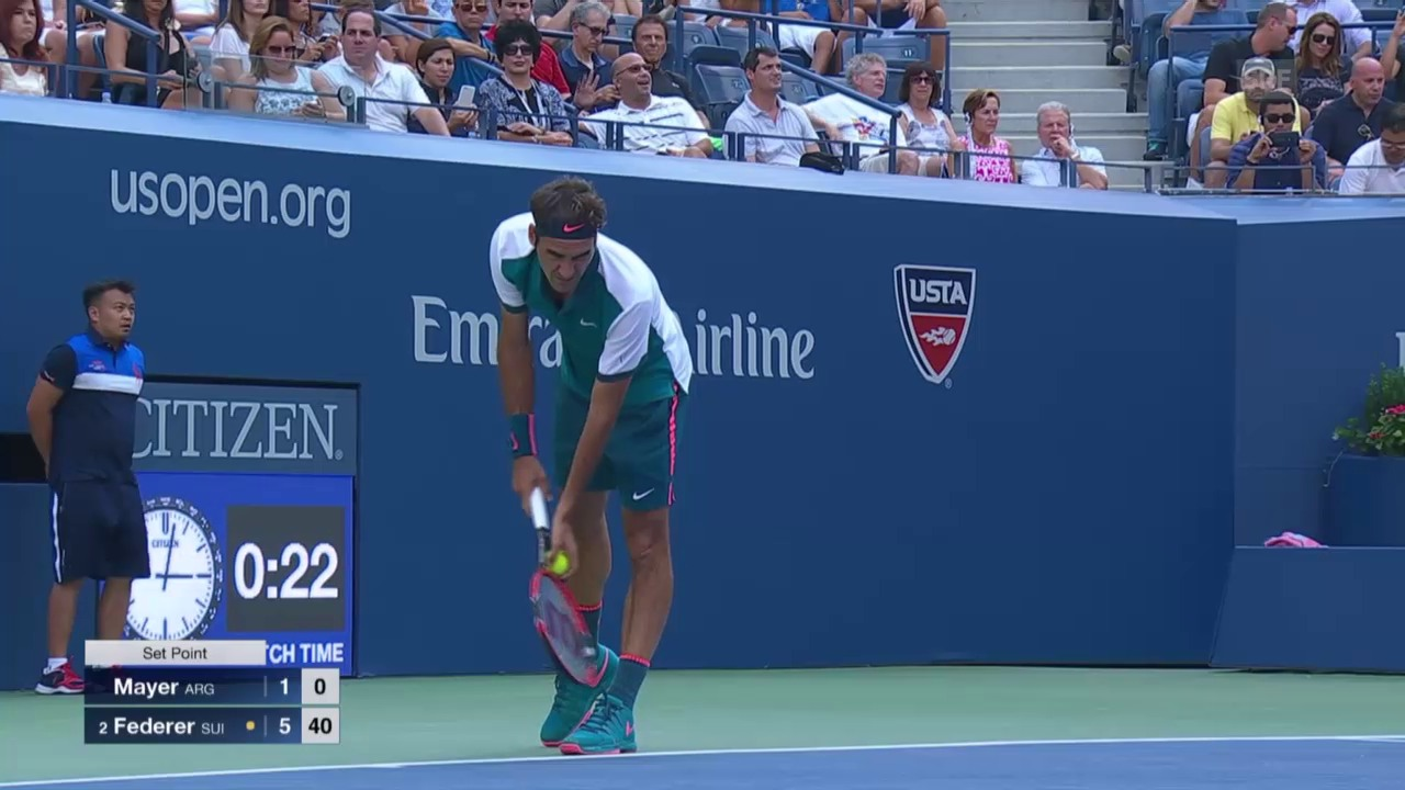 Tennis: US Open, Federer - Mayer, Satzball Federer