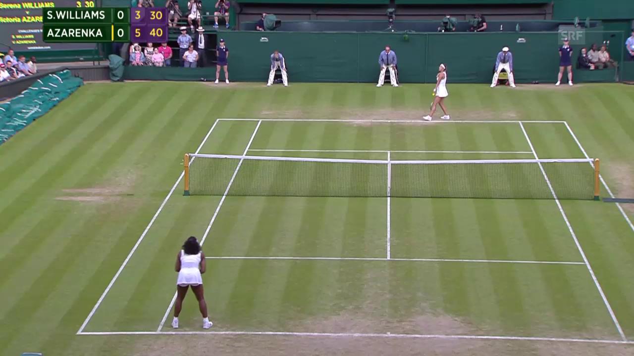 Tennis: Wimbledon, Williams - Asarenka, Satzball 1