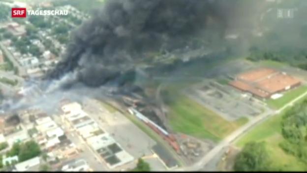 Video «Güterzug in Kanada explodiert» abspielen