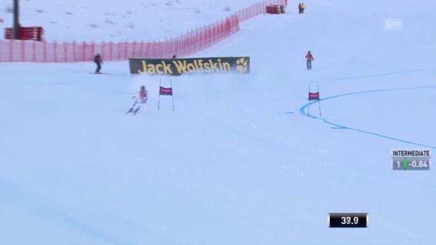 Video «Ski alpin: Weltcup in Val d'Isère, Super-G, Ausfall von Fabienne Suter» abspielen