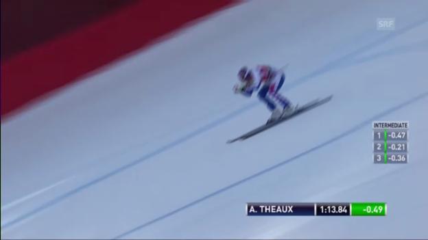 Video «Männer-Abfahrt in Kvitfjell: Fahrt von Adrien Theaux («sportlive»)» abspielen