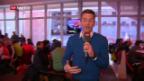 Video «Paddy Kälin prüft die Stimmung im «House of Fans»» abspielen