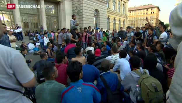 Video «Flüchtlingsprotest in Budapest» abspielen
