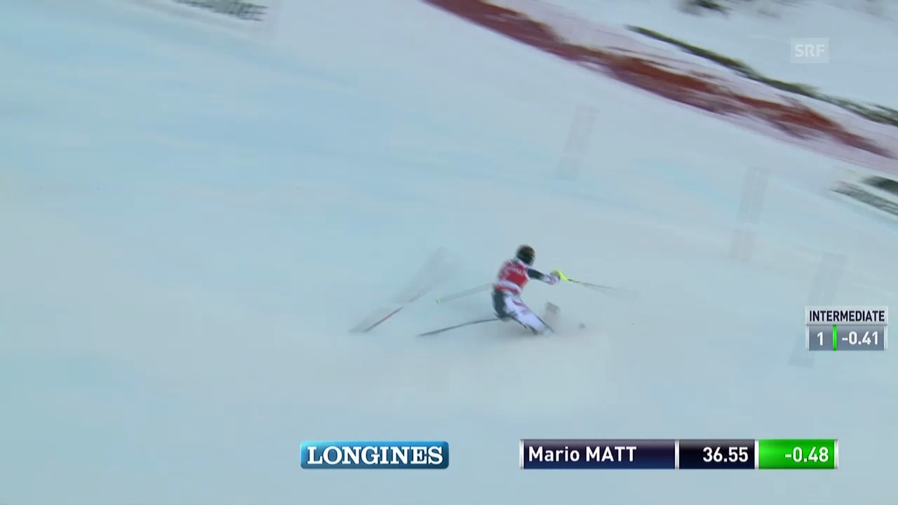 Ski alpin: Slalom Männer Val d'Isère, 1. Lauf Mario Matt («sportlive», 15.12.2013)