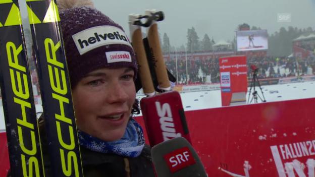 Video «Langlauf: WM in Falun, 10 km Skating Frauen, Interview mit Nathalie von Siebenthal» abspielen