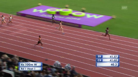 Video «Leichtathletik-EM: Halbfinal 4x100-m-Staffel mit der Schweiz» abspielen