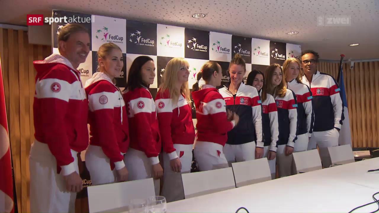 Das Schweizer Fed-Cup-Team vor dem Duell mit Frankreich