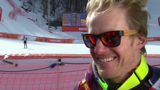 Video «Ski: Riesenslalom Männer Sotschi, Interview mit Ted Ligety (sotschi direkt, 19.2.14)» abspielen