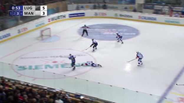 Video «Eishockey: Spengler Cup 2015, Lugano-Adler Mannheim, 6:3 Bertaggia» abspielen