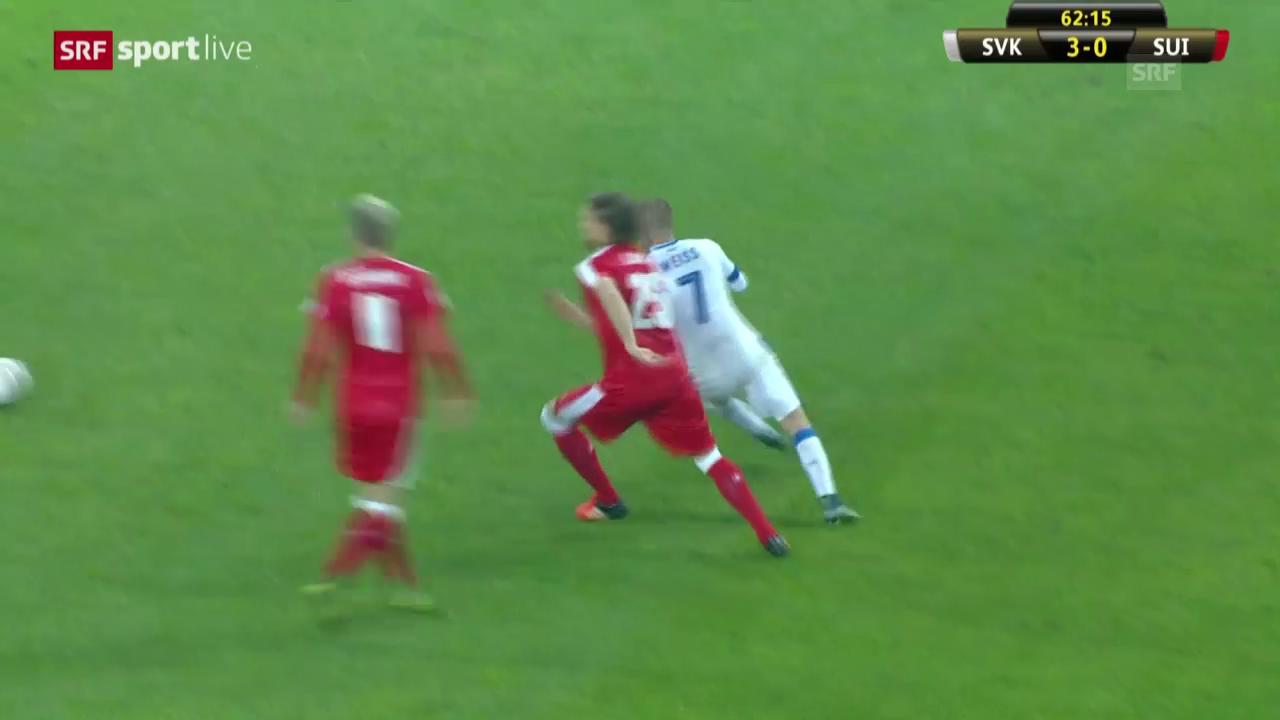 Fussball: Länderspiel. Slowakei - Schweiz: Tor Derdiyok 3:1