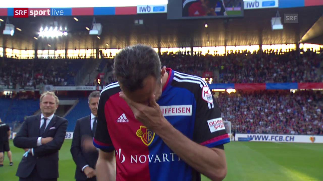 Fussball: Super League, 36. Runde, Basel-St.Gallen, Verabschiedung Marco Streller, Speech
