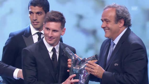 Video «Fussball: Messi ist UEFA-Fussballer 2014/15» abspielen