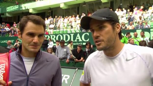 Video «Halle 2013, Federer/Haas verlieren Doppel» abspielen